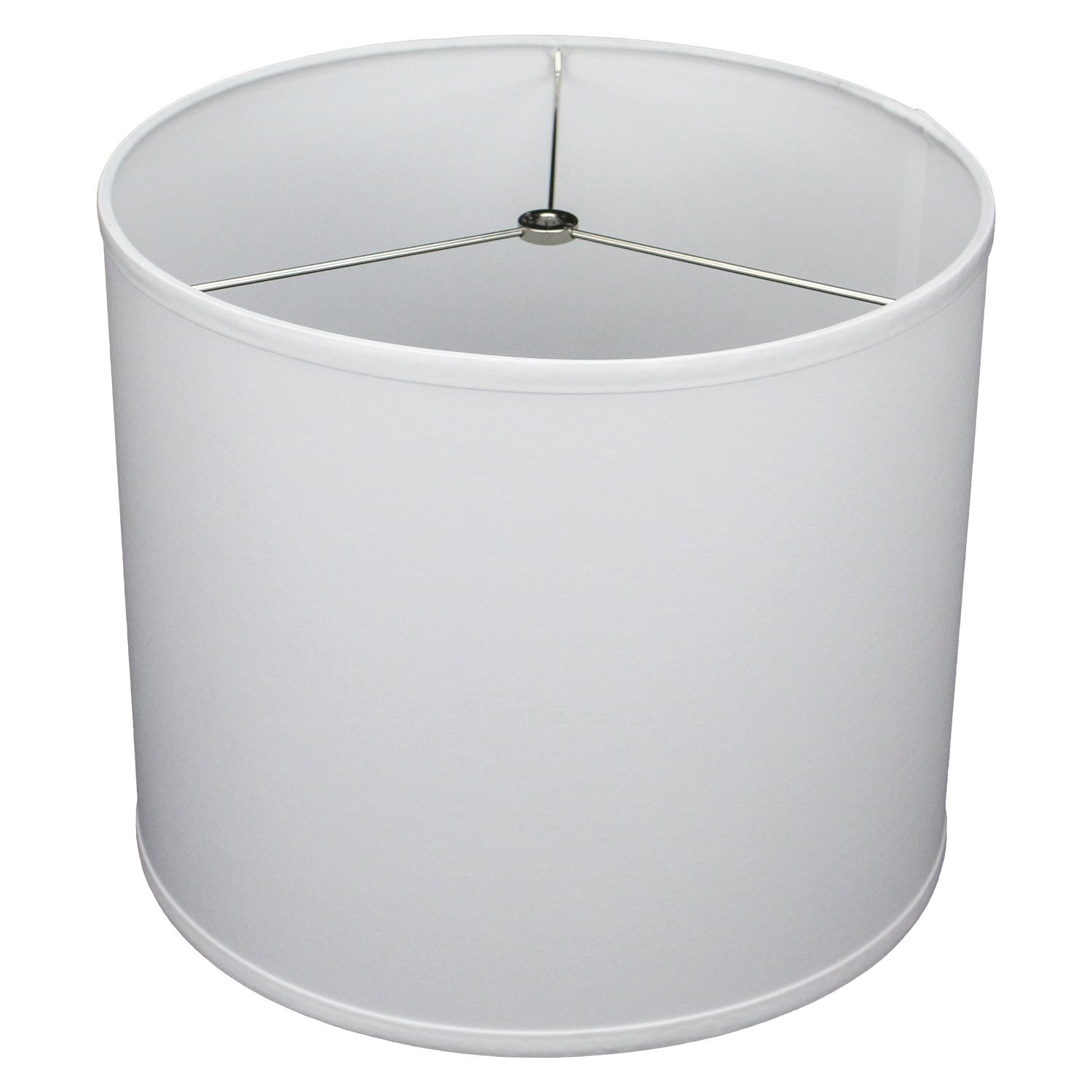FenchelShades.com 14'' Top Diameter x 14'' Bottom Diameter 12'' Height Cylinder Drum Lampshade USA Made (White)