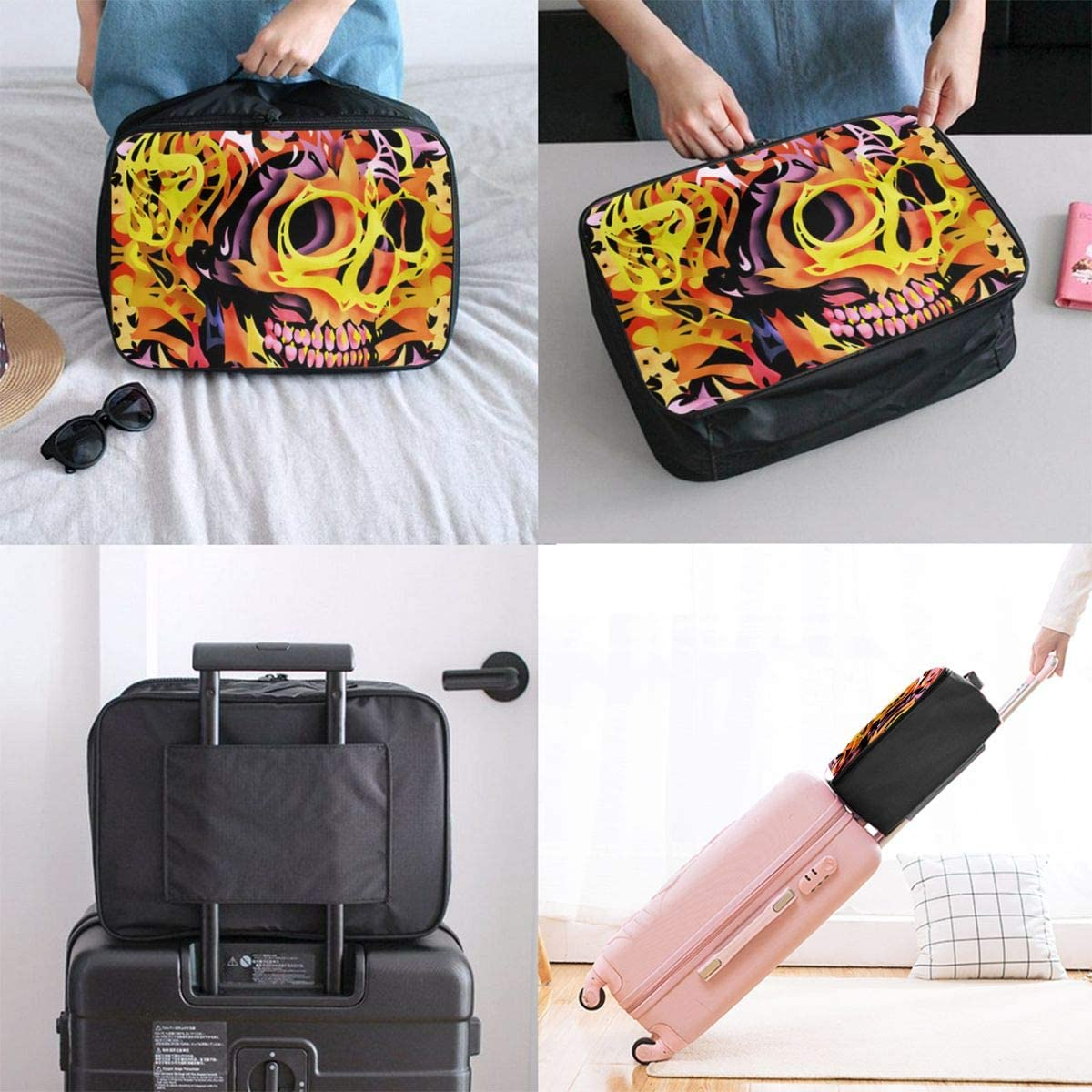 Skull Art Travel Carry-on Luggage Weekender Bag Overnight Tote Flight Duffel In Trolley Handle
