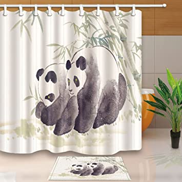 NYMB Animal Shower Curtains Panda Bear Traditional Chinese Painting 69X70in Mildew Resistant Polyester Fabric