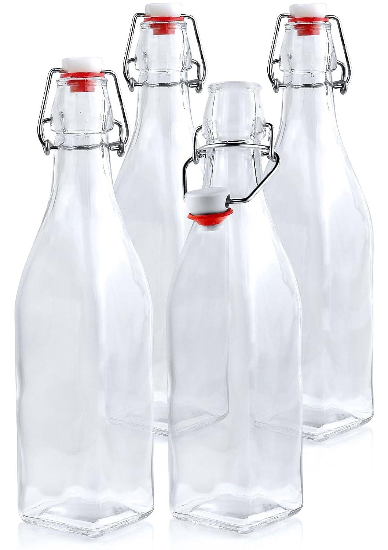 Estilo Swing Top Easy Cap Glass Beer Bottles, Square, 16 oz, Set of 4 EST2685