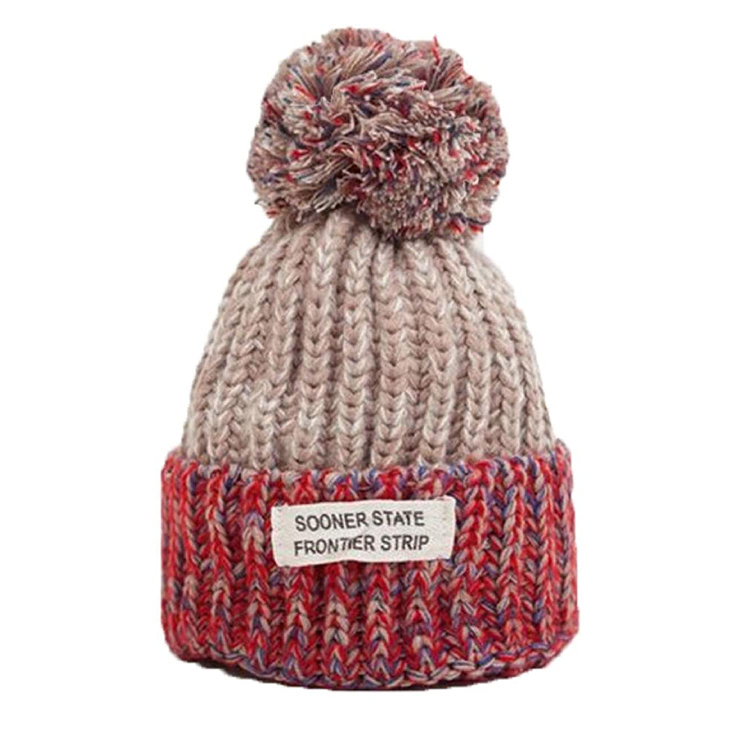 Amazon.com  Owill Women Men Winter Hat Ball Top Thick Hat Sooner State  Frontier Strip Printing Knitted Beanies Cap (Beige)  Clothing b9b71cb2184