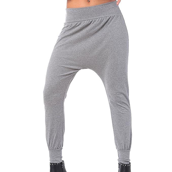 2edda812c18c MForshop pantalone TUTA DONNA PANTATUTA alla turca leggins harem cavallo  basso 00283 (Taglia unica, Grigio): Amazon.it: Abbigliamento