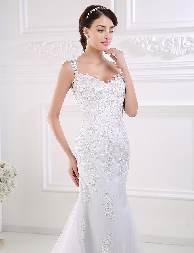 Adasbridal-Vestido de novia de elegante tul de escote Queen Anne con cintura natural de A-linea: Amazon.es: Ropa y accesorios