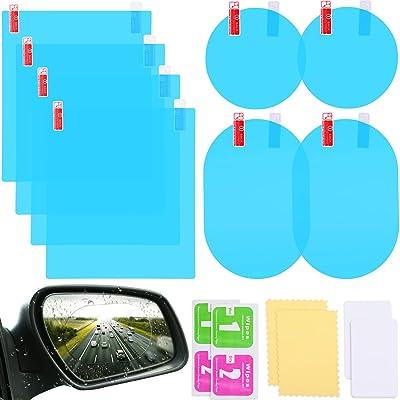 8 Pieces Car Rearview Mirror Film Anti Fog Glare Rainproof Waterproof Mirror Film HD Clear Nano Coating Car Film for Car Rear View Mirrors Side Windows: Automotive