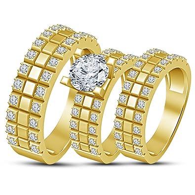 Amazon Com Tvs Jewels His Her Trio 3 Piece Wedding Ring