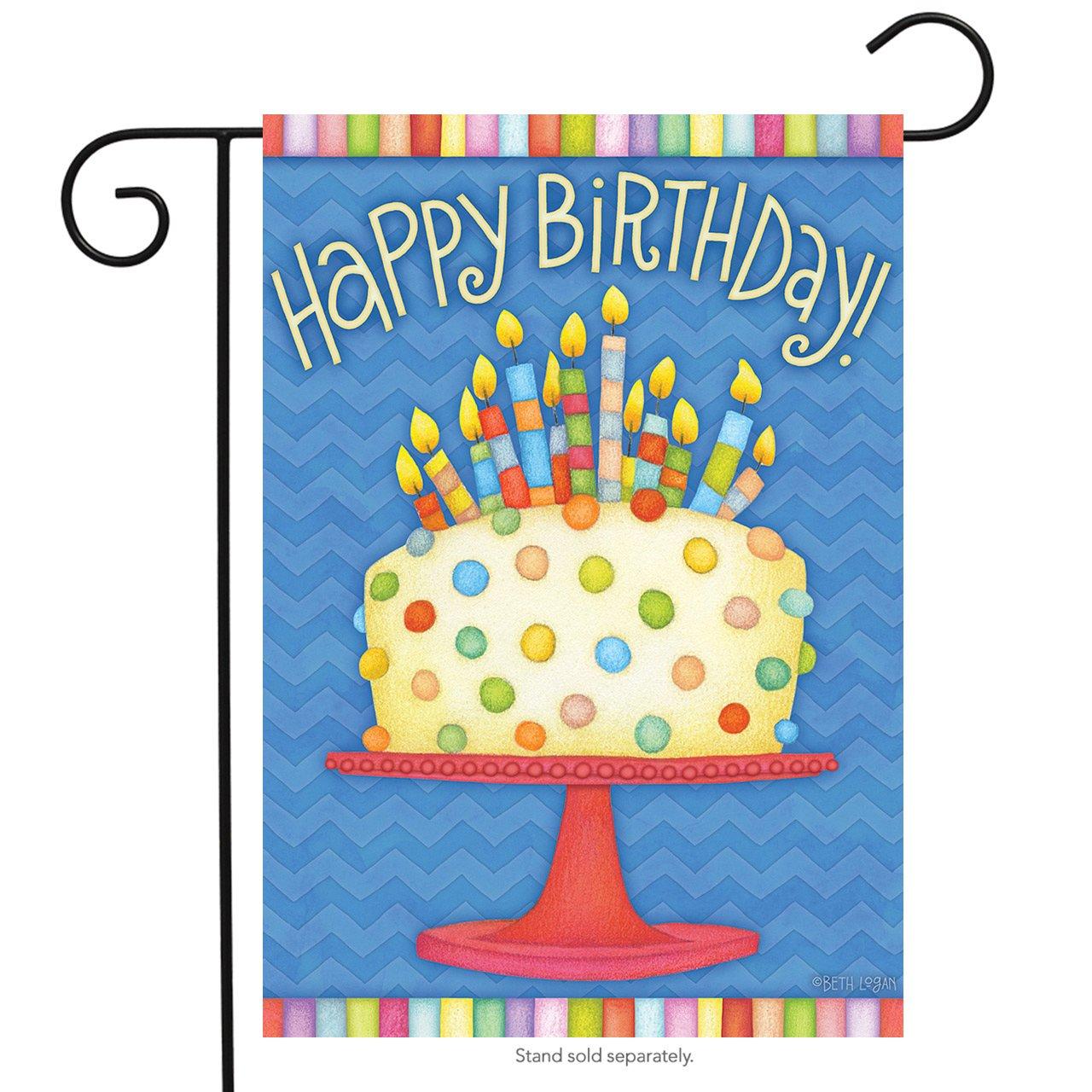 Amazon Briarwood Lane Happy Birthday Garden Flag Cake Candles 125 X 18 Outdoor