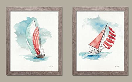 Gango Home D cor Beautiful Watercolor-Style Sailboat in The Breeze Print by Lisa Audit Coastal Decor Two 11x14in Distressed Framed Prints Ready to Hang