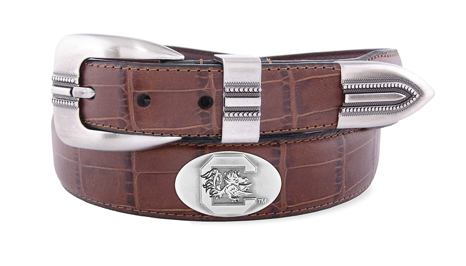 Zeppelin Products Inc. NCAA South Carolina Fighting Gamecocks Crocodile Tip Leather Concho Belt ZEP-TAN-9