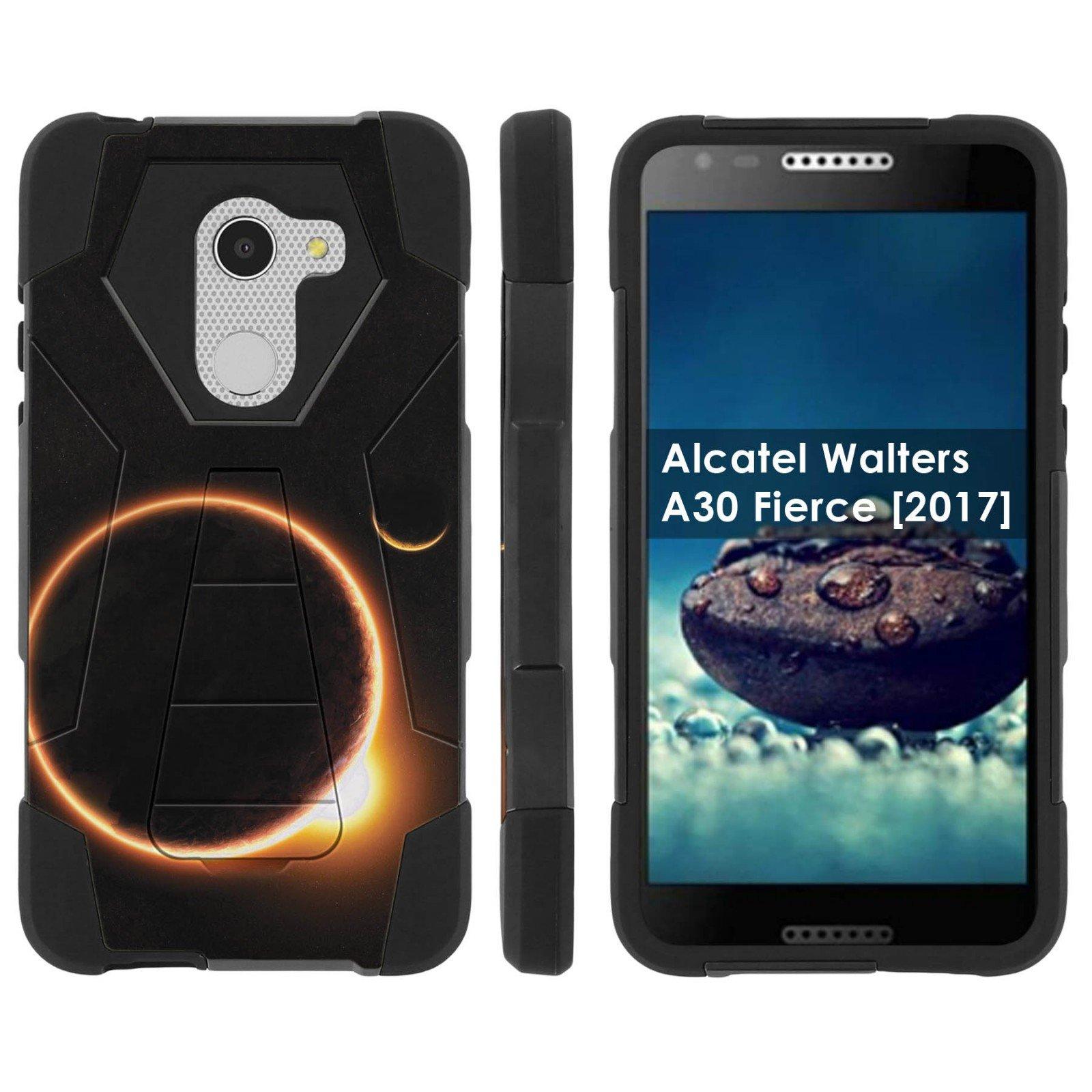 [Mobiflare] Dual Layer Armor Case [Kickstand] for Alcatel REVVL /Alcatel Walters / Alcatel A30 Fierce [2017] [Black/Black] Mil-Spec - [Solar Eclipse]