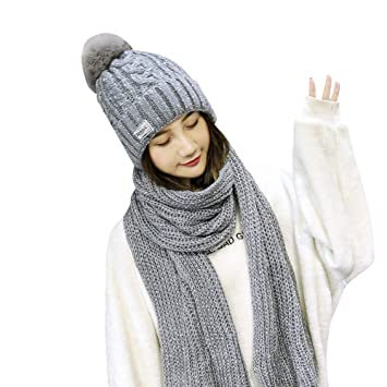 c204cdd209ff iSpchen Thermique Ensemble Hiver en Tricot écharpe et Bonnet pour Femme  Fille(Gris)
