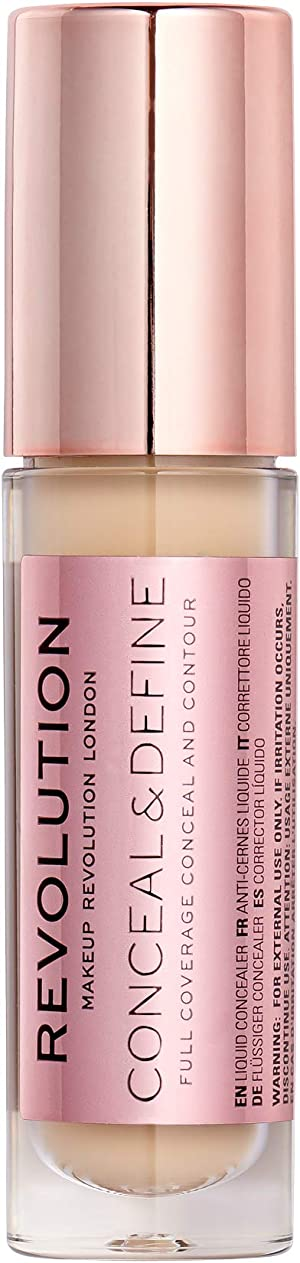 Makeup Revolution Conceal & Define Full Coverage Conceal & Contour C6, Concealer Makeup Stick Instantly Blur Your Acne and Even Out Textured Skin, Under Eye Concealer for Flawless Finishing