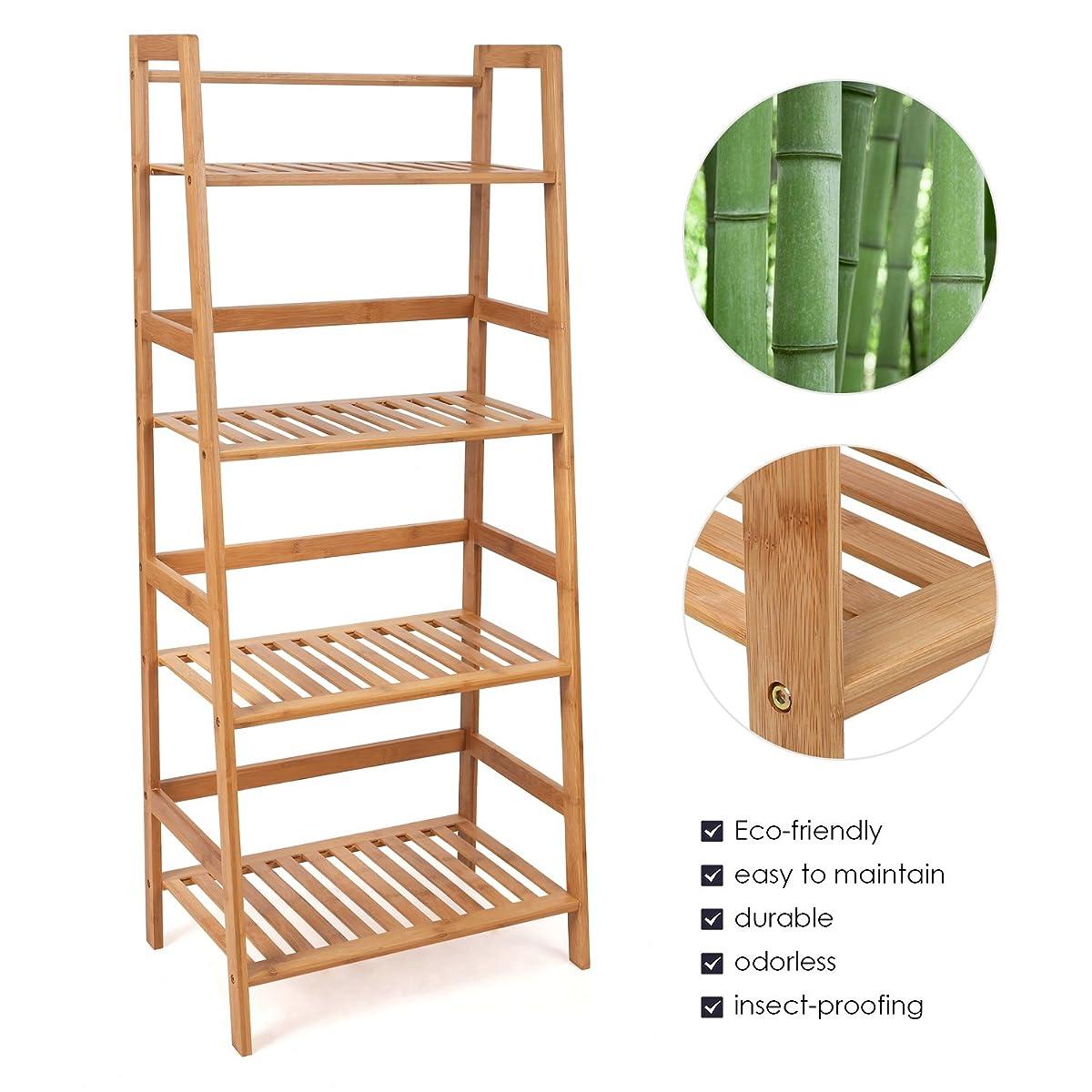 HOMFA Bamboo 4 Shelf Bookcase, Multifunctional Ladder-Shaped Plant Flower Stand Rack Bookrack Storage Shelves