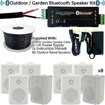 Exterior/Externo Bluetooth Sistema de Altavoces – Fiesta en el jardín Barbacoa Kit – 60 W Mini Wireless Amplificador y Altavoces de 8 x 60 W Blanco Resistente a la Intemperie – cablefinder: Amazon.es: Electrónica