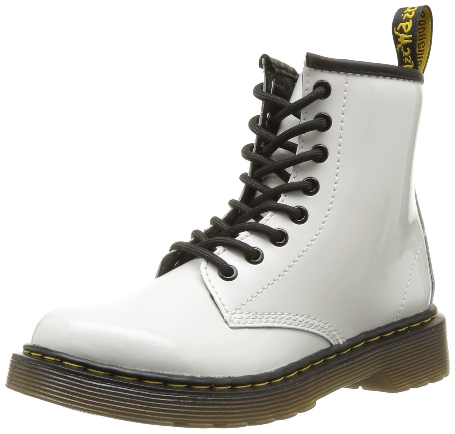 Dr. Martens Children's Delaney Lace Boot,White Patent Lamper,UK 11 M