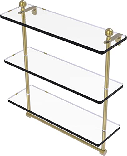 Allied Brass MA-5 16TB Mambo Collection 16 Inch Triple Tiered Integrated Towel Bar Glass Shelf, Satin Brass