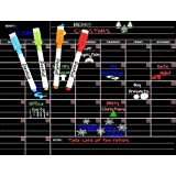 Magnetic Monthly Calendar Dry Erase Chalkboard for Kitchen, Office Refrigerator, Includes: 4 Fine Tip Chalk Markers 17X13 Monthly Blackboard Organizer | Perfect Refrigerator Planner.