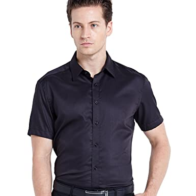 Wellwill Mens Short Sleeve Non Iron Solid Dress Shirt Slim Fit No