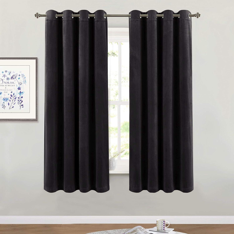 "Blackout Velvet Curtains for Bedroom - Super Soft Smooth Soundproof Velvet Drapes with Grommet Top Heat & Noise Reducing Window Covering for Study Room/Loft, W52 x L63, Black, 2 Pcs W52"" x L63"" Black"