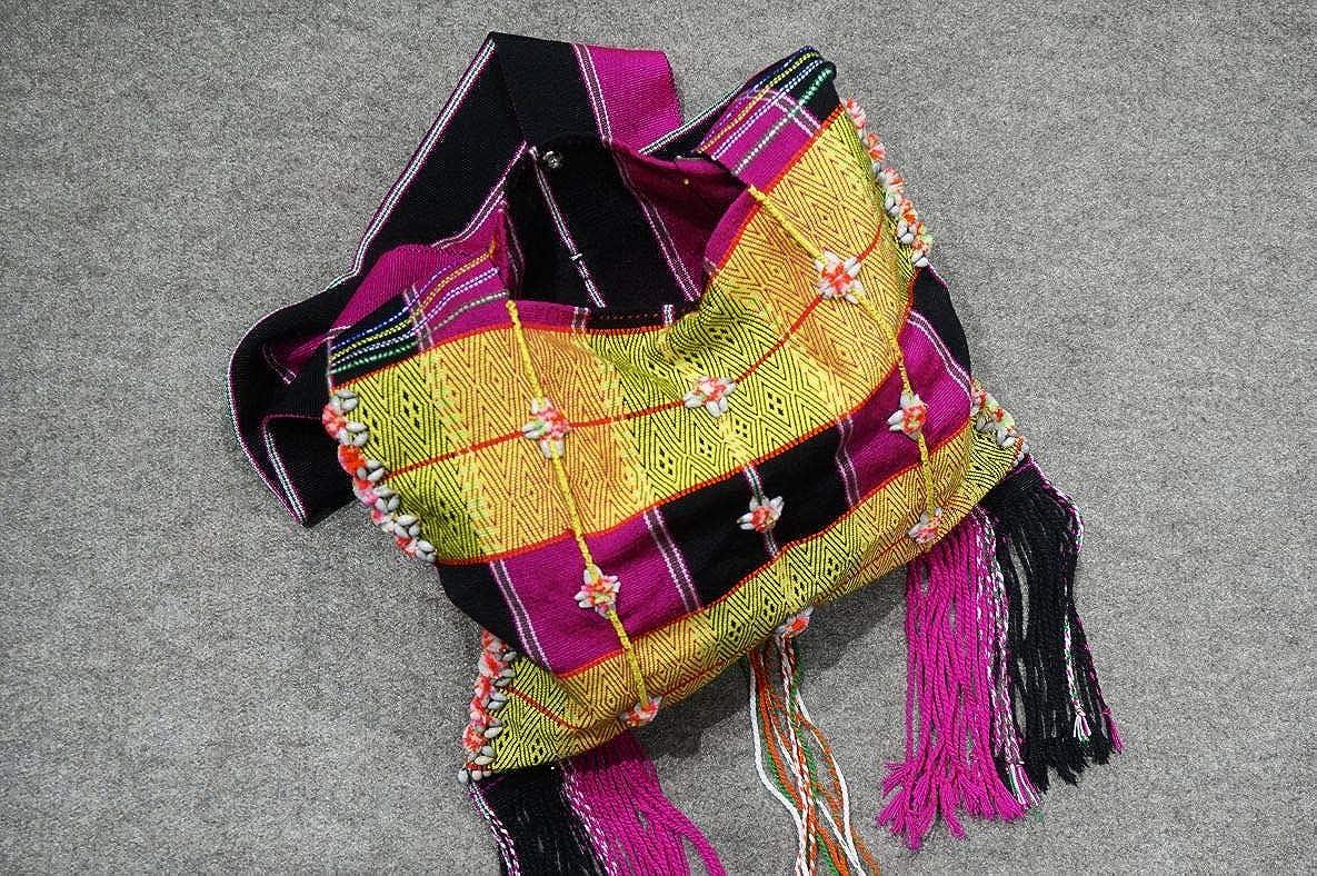 100% handgewebte schicke Fair Trade Wochenendtasche/dekorative desigual Umhängetasche und Shopper aus Baumwolle und Leinen mit Quasten und Fransen #103 V1 (26*27cm, Sangle 50cm)