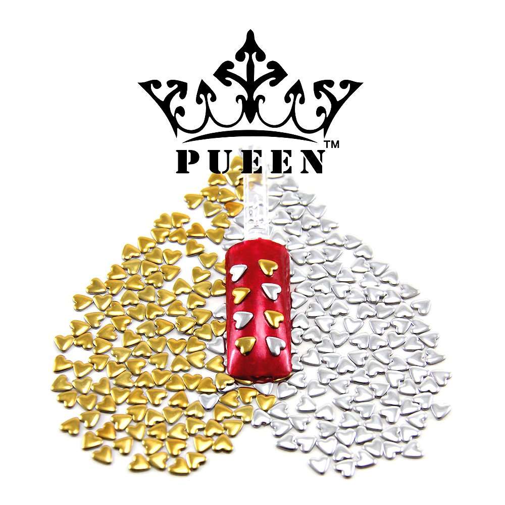 PUEEN 3D Nail Art 300 Pieces Gold & Silver 4mm HEART Metal Studs for Cellphones & Nails Decorations 3h300gs