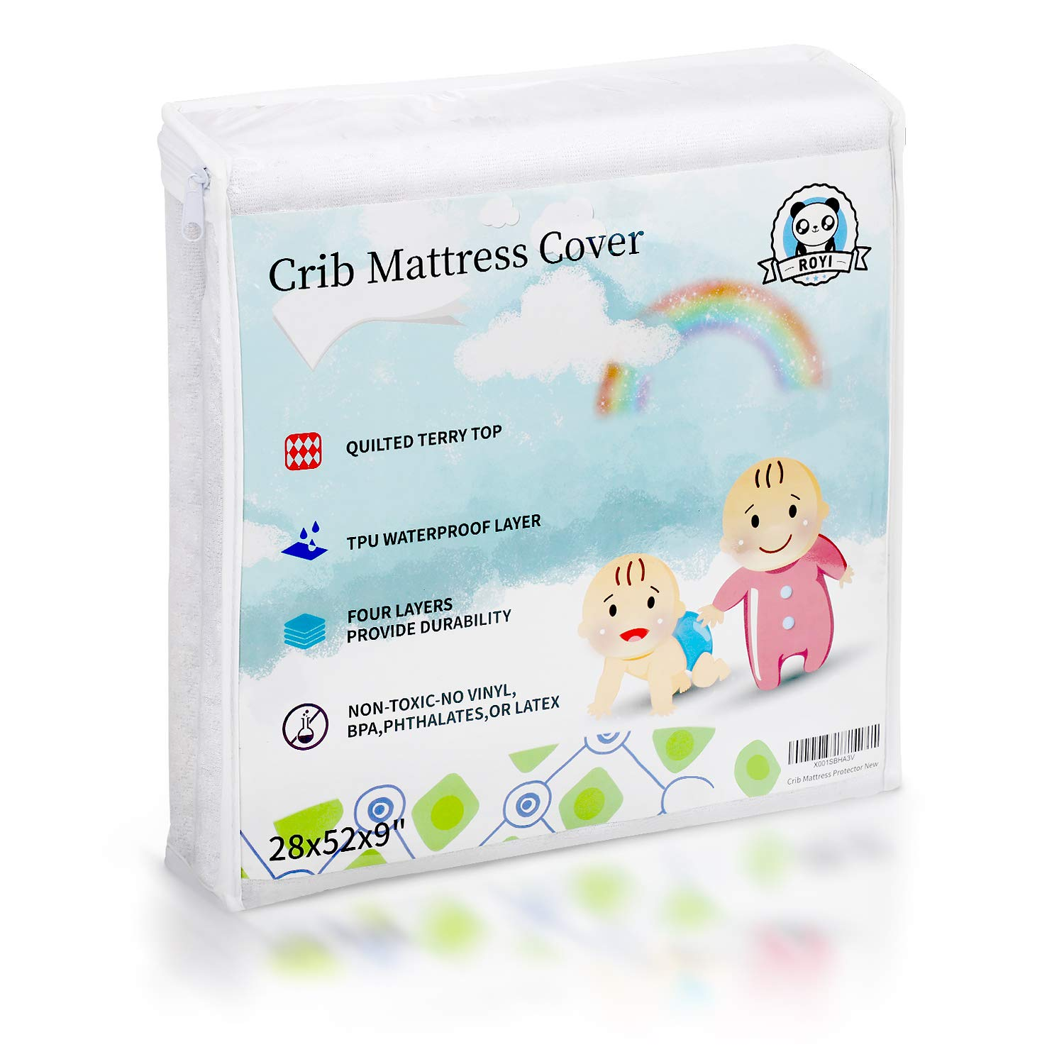 Baby Safe Crib Mattress Protector 100% Waterproof Toddler Protective Pad Cover Organic Bamboo Hypoallergenic Fits All Standard Crib tomser