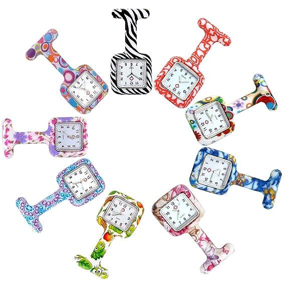 jsdde Relojes, 9 x Enfermeras FOB de reloj cuadrado silicona Mujer Hombre Enfermera Reloj de