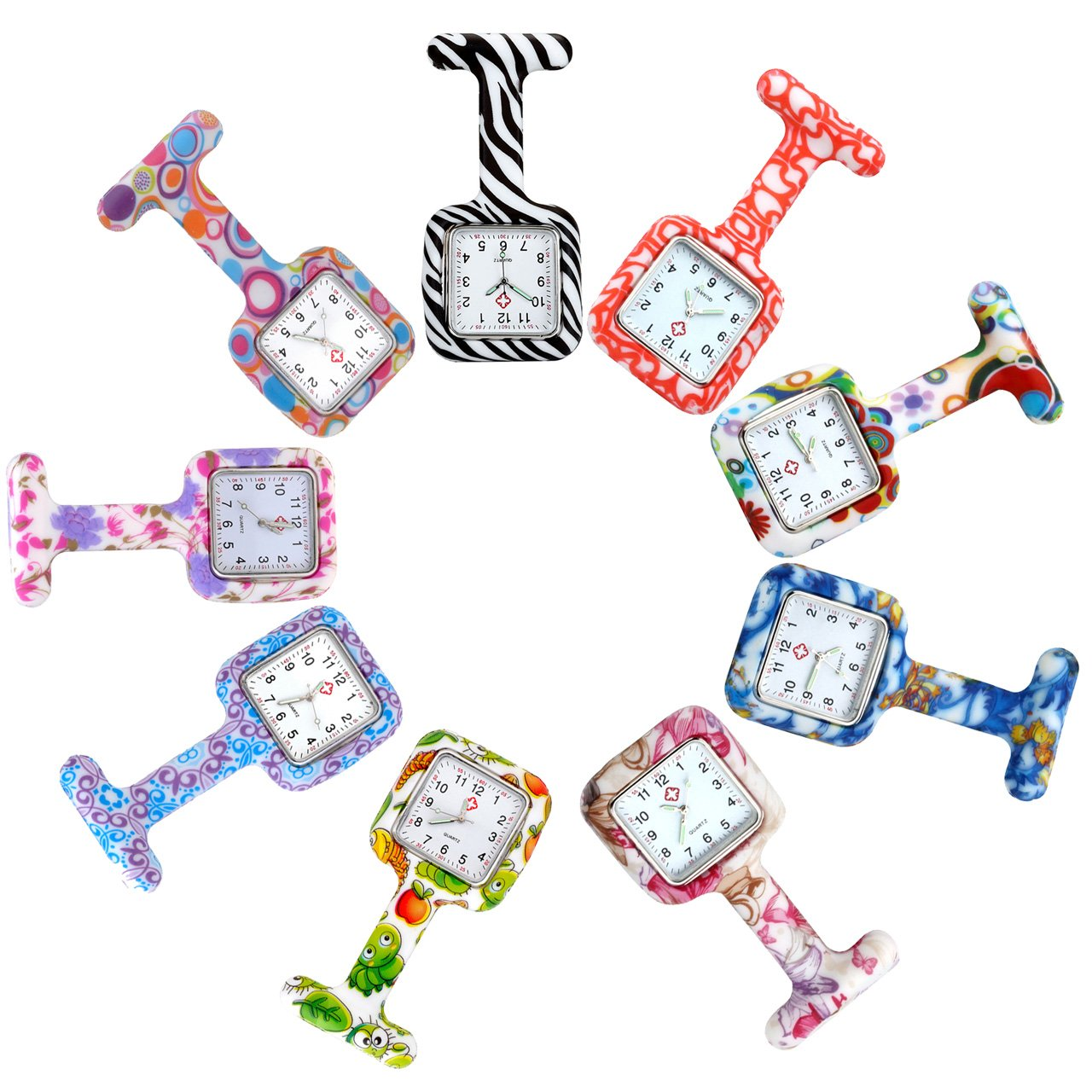 Top Plaza 9 PCs Silicone Fob Pocket Nurse Analog Quartz Watches Set - Floral Square Jelly Clip on Brooch