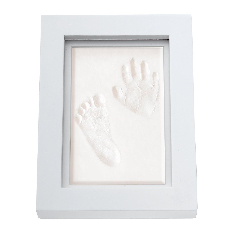 Cadre photo en bois de pin abordable pour pied et empreinte de pied et main, kit souvenir pour bébé nouveau-né, cadeau inoubliable pour la fête prénatale, baptême et Noël. Smile