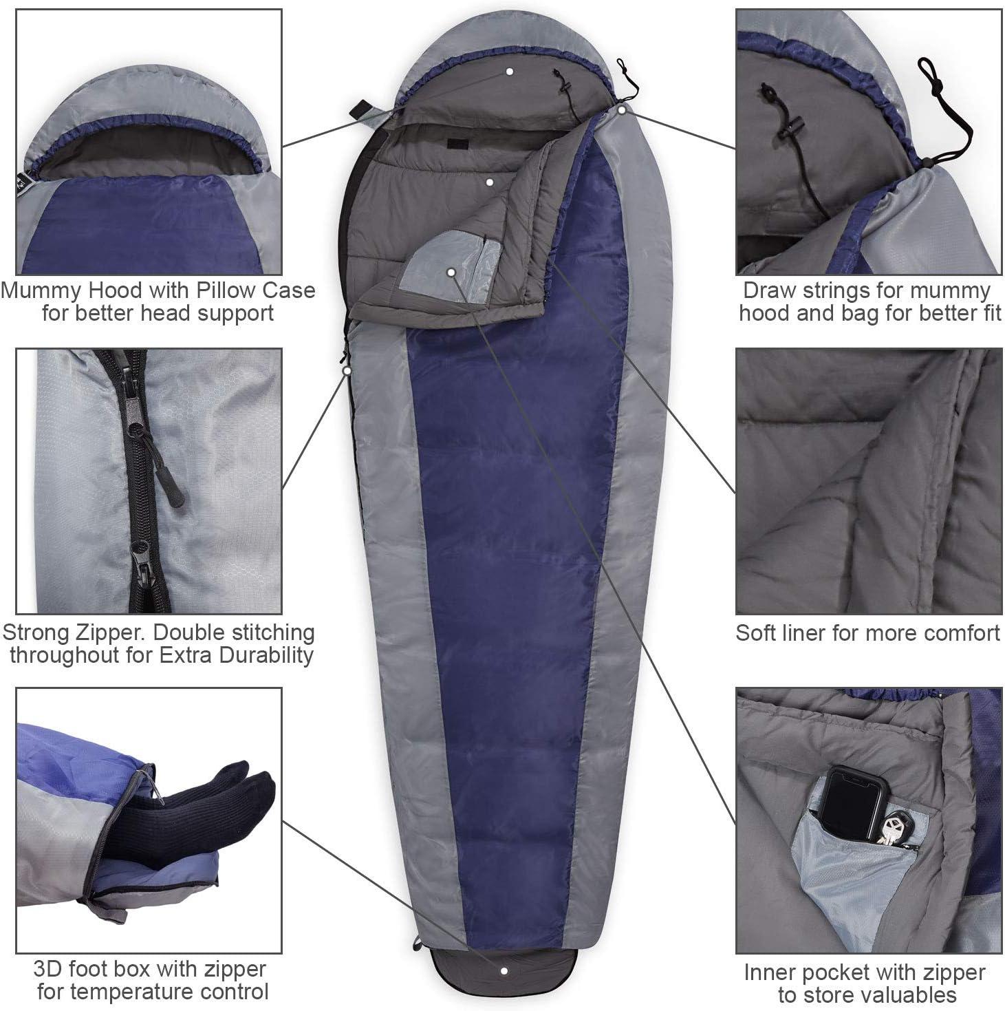 Mummy Sleeping Bag Camping Hiking 4 Season Envelope Single Waterproof Suit Case