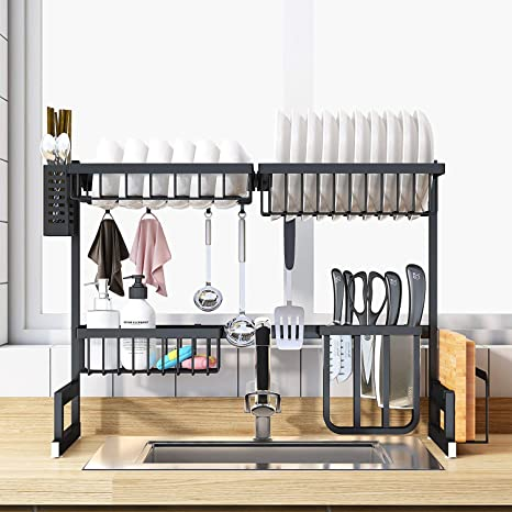 LAMPTOP Sink Rack Dish Drainer for Kitchen Sink Racks Black Stainless Steel  Over The Sink Shelf Storage Rack, 26inch