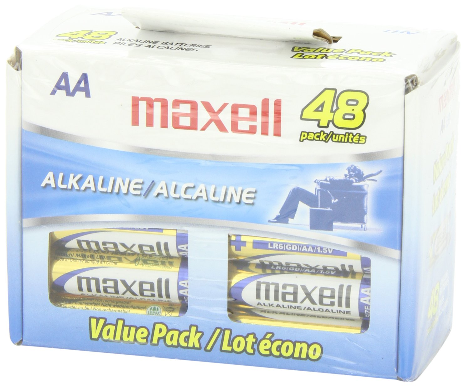 Maxell 723443 Alkaline Battery AA Cell 48-Pack by Maxell