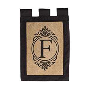 Evergreen Flag 14B2704F Garden Sub Burlap Monogram Flag