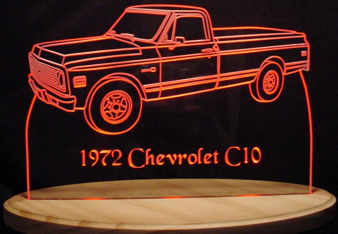 1972 Chevy Pickup Truck Acrylic Lighted Edge Lit 11-13'' LED Sign / Light Up Plaque 72 VVD1 Full Size Made in USA