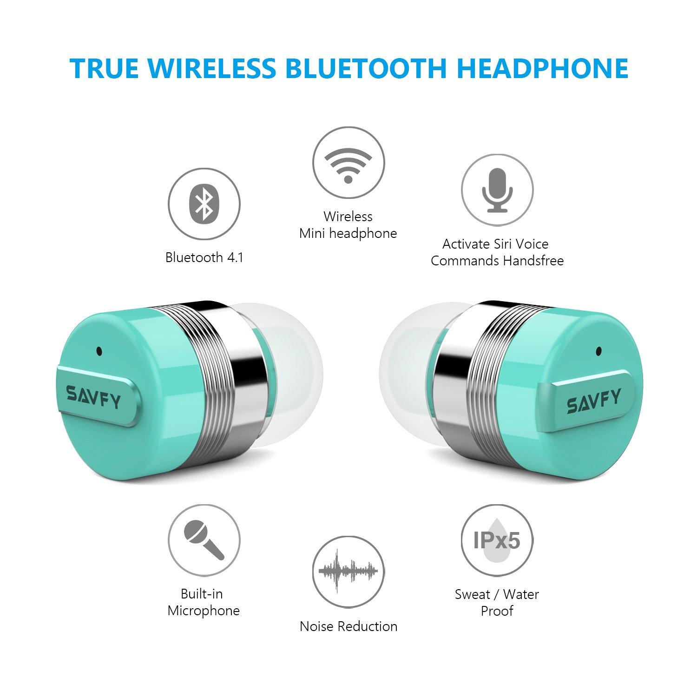 SAVFY Mini Auriculares Bluetooth Inalambricos Realmente Inalámbrico Manos Libres con Cargador Portátil y Reducción de Ruido Azul: Amazon.es: Electrónica