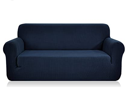 Chunyi Jacquard Sofa Covers 1-Piece Polyester Spandex Fabric Slipcovers  (Sofa, Dark Blue)