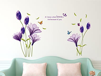 Amazon Brand - Solimo Wall Sticker for Living Room (Tulip Twirl, ideal size on wall, 110 cm x 80 cm ),Multicolour