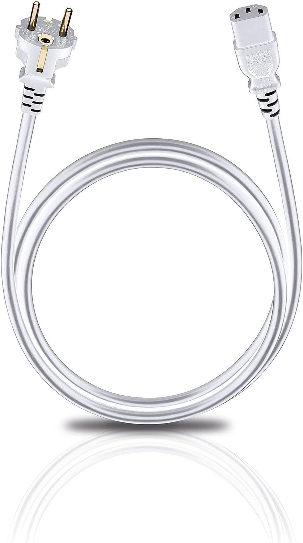 Hochflexibel 3 m Oehlbach Powercord C13 // 300 hervorragende Kontaktsicherheit Netzkabel mit Schukostecker /& Kaltger/ätekupplung schwarz
