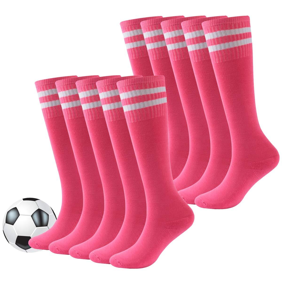 Baseball Socks for Youth,Children School Team Athletic Performance Knee High Stocking for Soccer,Football,Basketball Fasoar 10 Pairs Rose Red by Fasoar