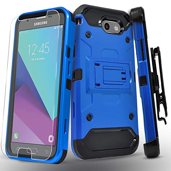 Galaxy J7 Sky Pro Case, Galaxy J7 V Case, Galaxy J7 Perx, Galaxy Halo,  Galaxy J7 Prime Case, with [Tempered Glass Screen Protector] Heavy Duty