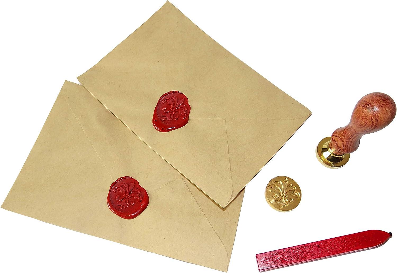 Coffret Cachet de Cire : 4 Tampons et un B/âton de Cire /à M/èche Rouge Croix. Calendrier lunaire Arbre de Vie Fleur de Lys