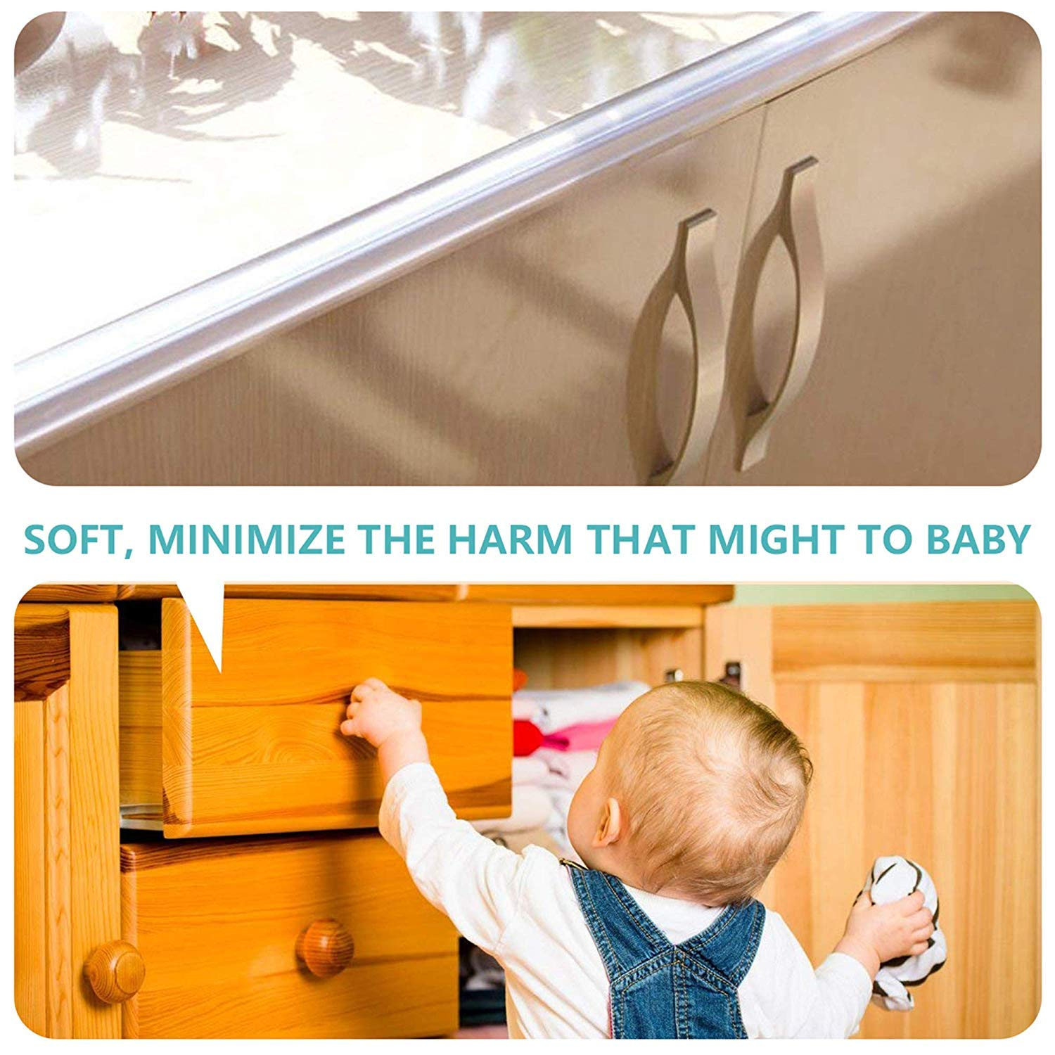 Wemk New Transparent Table Edge Furniture Corner Protectors, 20ft Widen & Thicken Baby Proofing Edge Safety Bumpers Strip, Safety for Child by Wemk (Image #6)