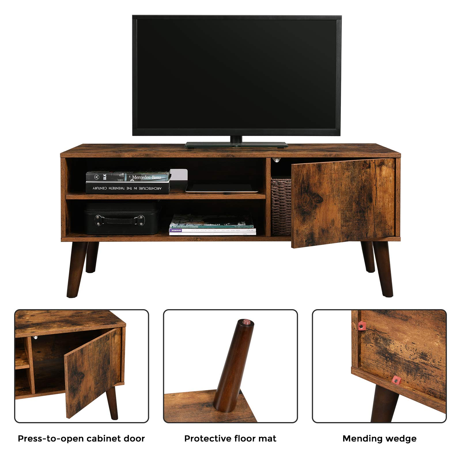VASAGLE Retro TV Stand, TV Console, Mid-Century Modern Entertainment Center for Flat Screen TV Cable Box Gaming Consoles, in Living Room Entertainment Room Office ULTV09BX by VASAGLE (Image #5)