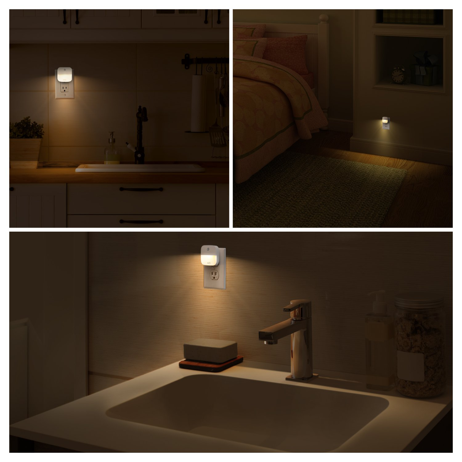 eufy Lumi Plug-In Night Light, Warm White LED Nightlight, Dusk-To-Dawn Sensor, Bedroom, Bathroom, Kitchen, Hallway, Stairs, Energy Efficient, Compact, 4-pack by eufy (Image #7)