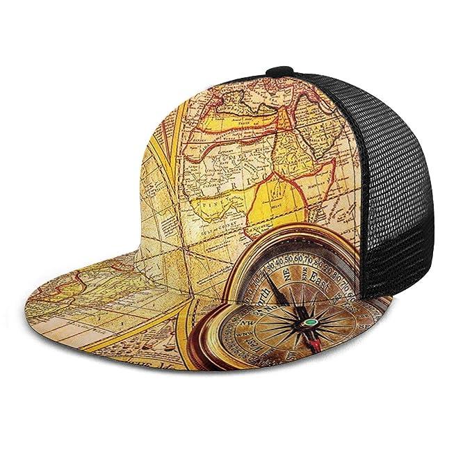 Gorra de béisbol con brújula Antigua en el Mapa del Mundo Antiguo ...