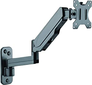 """TechOrbits Wall Mount Monitor Arm - Two Computer Screen TV Mounted Stand with Integrated Cable Management - Fits Screens 13""""-32"""""""
