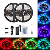 Lilideni 48W 10 Meters 600 LED RGB Strip Light Type 2 with Sensitive IR24 Keys Remote Control Controller Supported Flash…