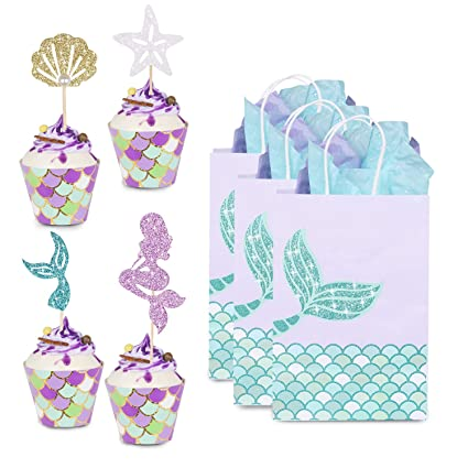 Paquete de 48 decoraciones de sirena para cupcakes y ...