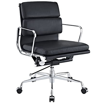 eames reproduction office chair. EMODERN FURNITURE EMod - Eames Style Softpadded Management Office Chair Reproduction Leather Black
