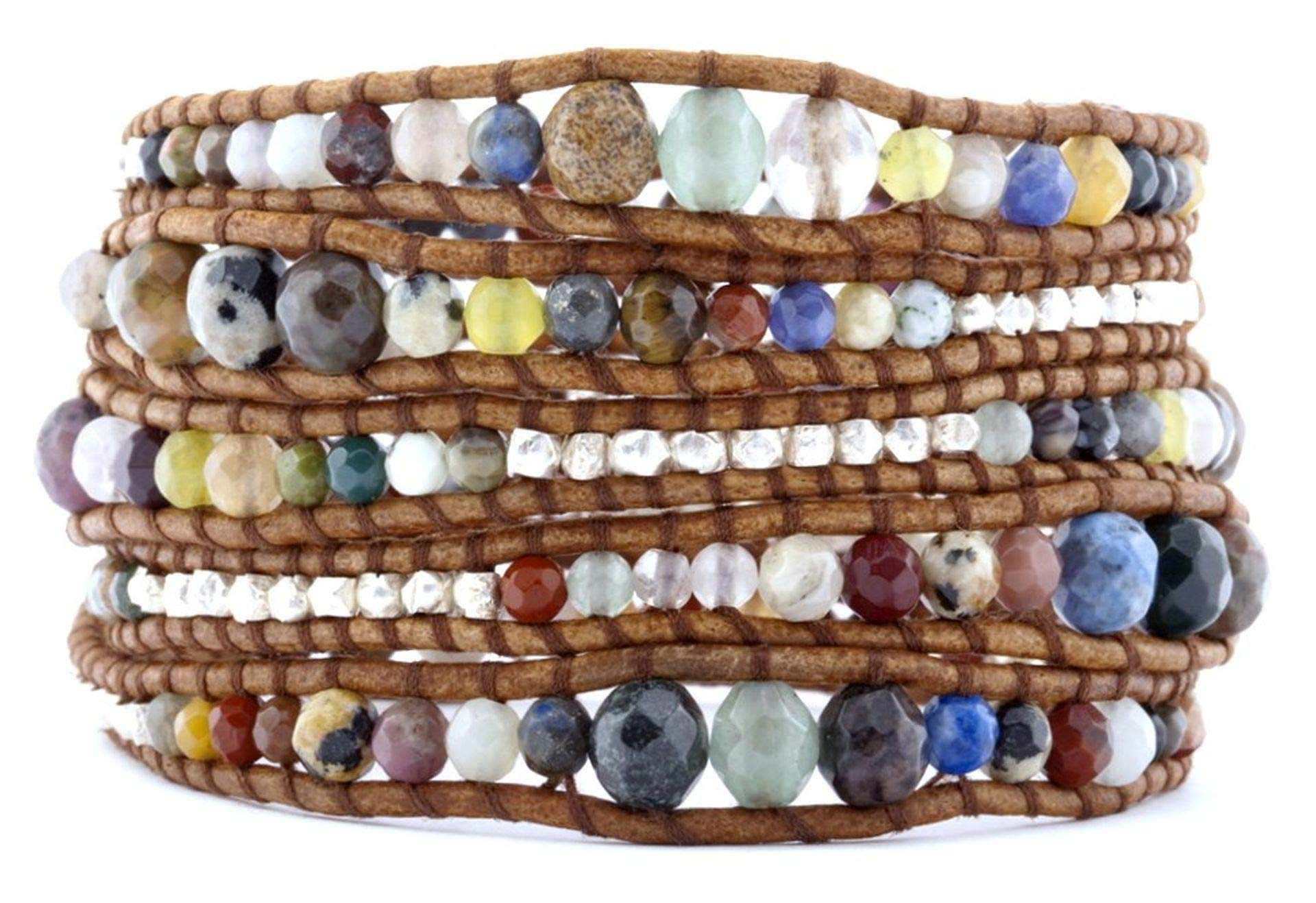 Chan Luu Graduated Multi Stone Mix on Natural Brown Leather Wrap Bracelet BS-2624