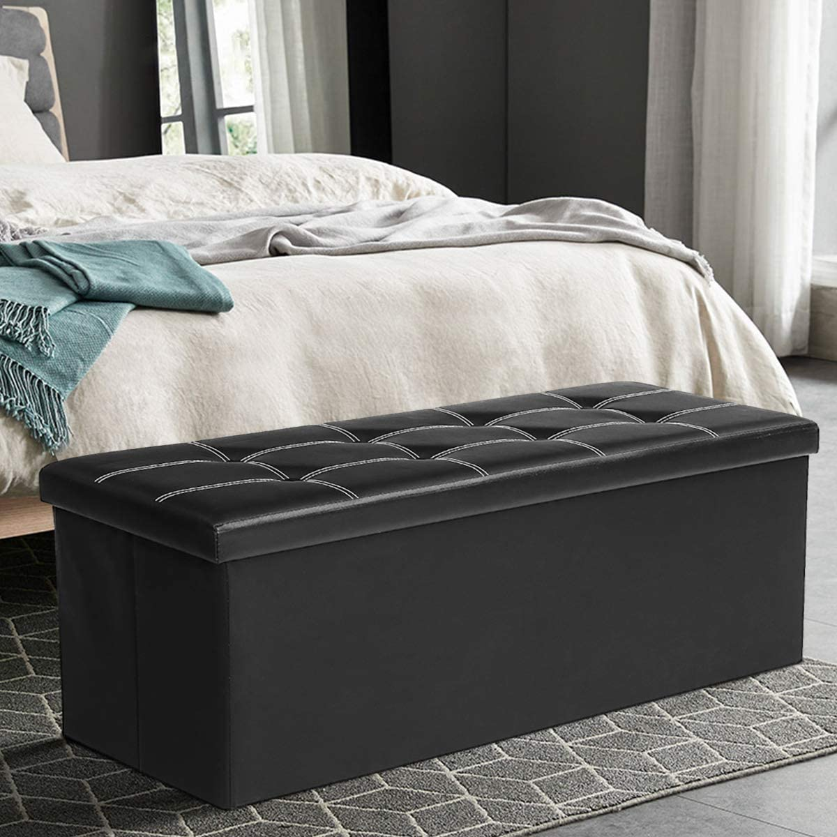 KINGSO 43 Ottoman with Storage Benches for Dedroom, Large Folding Faux Leather Toy Chest, Storage Chest Footrest Padded Seat for Entryway, Bedroom, Support 660lbs Black
